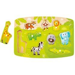 Hape Jungle Peg Puzzle - Παζλ Με Τα Ζώα Της Ζούγκλας - 10Τεμ. E1405A 6943478018662