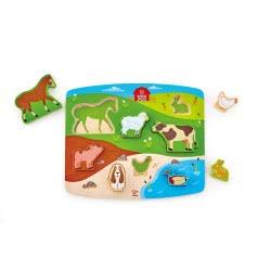 Hape Farm Animal Puzzle And Play - Farm Animals - 9 Pieces Ε1454 6943478018723