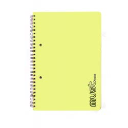 MUST Craft Metal Spiral Notebook 2 Subjects 64 Sheets - 4 Colours 000579460 5205698405693