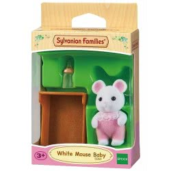 Epoch Sylvanian Families Μωρό Ποντικάκι White Mouse Σε Κούνια 5069 5054131050699