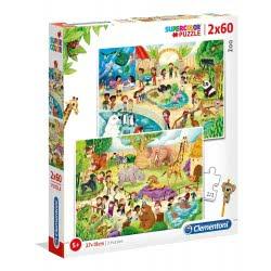 Clementoni Παζλ 2Χ60 Supercolor Ζωολογικός Κήπος 1200-21603 8005125216031