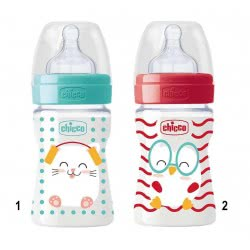 Chicco Feeding Bottle Well-Being Pop Friends Silicone Nipple 150Ml 0+ - 2 Designs A60-09500-00 8058664086085