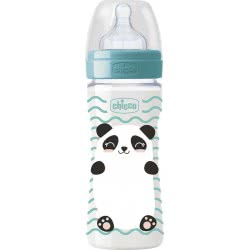 Chicco Plastic Feeding Bottle Well-Being Pop Friends Silicone Nipple 330Ml 4+ - 2 Designs A60-09502-00 8058664086108