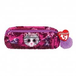 ty Fashion Sequin Plush Pencil Case Purple Cat Kiki 1607-95852 008421958528