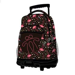 Diakakis imports Primary School Trolley Backbag Pink Flamingos 34X23x46 Cm 000581762 7704875845539