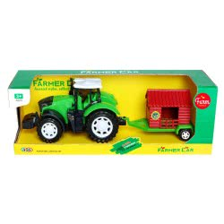 Toys-shop D.I Τρακτέρ Αυτοκούρδιστο Με Καρότσα Σπιτάκι Φάρμας JA085624 6990119856244