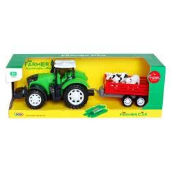 Toys-shop D.I Τρακτέρ Αυτοκούρδιστο Με Καρότσα Με Αγελάδες JA085625 6990119856251