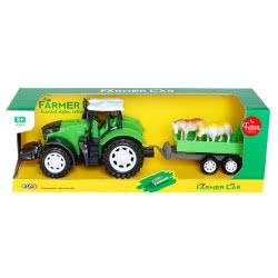 Toys-shop D.I Τρακτέρ Αυτοκούρδιστο Και Καρότσα Με Ζώα JA085630 6990119856305