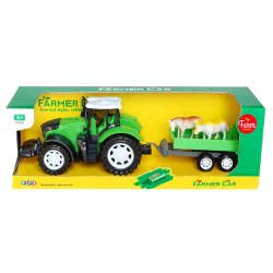 Toys-shop D.I Friction Power Farmer Tractor Set With Trailor JA085631 6990119856312