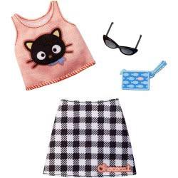 Mattel Barbie Πρωϊνά Σύνολα - Διάσημες Μόδες - Hello Kitty Chococat Tank/Skirt FYW81 / FXK80 887961694314