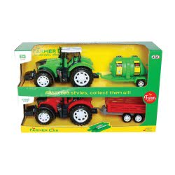 Toys-shop D.I Friction Farm Tractor With Trailes Set 2Pcs Together JA085639 6990119856398