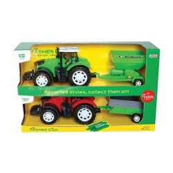 Toys-shop D.I Friction Farm Tractor With Trailes Set 2Pcs Together JA085640 6990119856404