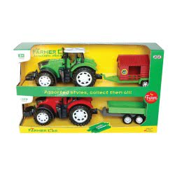 Toys-shop D.I Friction Farm Tractor With Trailes Set 2Pcs Together JA085641 6990119856411