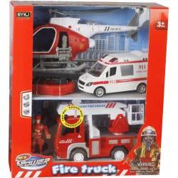 Toys-shop D.I Fire Truck Οχήματα Άμεσης Δράσης (Ελικόπτερο, Πυροσβεστική, Ασθενοφόρο) JY054945 6990119549450