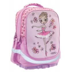 MUST Primary School Backbag Unique Ballerina 3 Compartments 30X16x42m - Pink 000579592 5205698426186