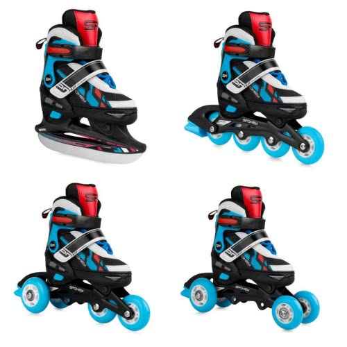 Spokey Feat 4 In 1: Πατίνια Και Ice Skates 4 Σε 1, R. 39-42 - Μπλε 924285 5902693242857