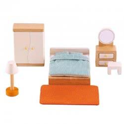 Hape Happy Family Ξύλινο Υπνοδωμάτιο - Κρεβατοκάμαρα Master Bedroom E3450 6943478004481