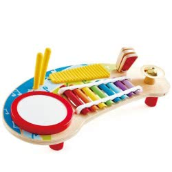 Hape Early Melodies Mighty Mini Band Ξύλινο Music Station 5 Σε 1 Ε0612 6943478025479