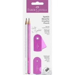 Faber-Castell Sparkle Σετ 2 Μολύβια Με Γόμα Και Ξύστρα Λευκό-Ροζ 218477 4005402184774
