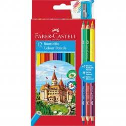 Faber-Castell Ξυλομπογιές Κάστρο 12 Χρώματα Και Δώρο 3 Μολύβια Διπλού Χρώματος, Ξύστρα 110312 7891360595540