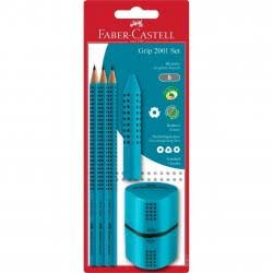 Faber-Castell Grip 3 Μολύβια Grip, Ξύστρα Grip, Γόμα Grip - Τιρκουάζ 169207 5201612772124