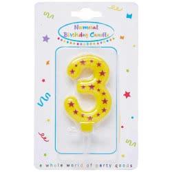 PROCOS Decorata Party Numeral Candles No. 3 089166 5201184891667