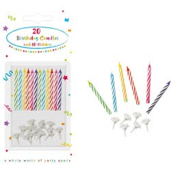 PROCOS Decorata 20 Birthday Candles with 10 Holders - 20pcs 006651 5201184066515