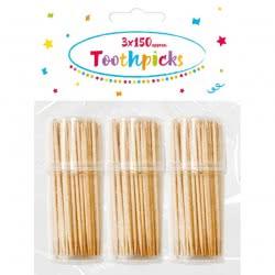 PROCOS Wooden Toothpicks Packet of 3 Pots(150pcs/pot) 089175 5201184891759