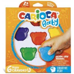 CARIOCA Baby Teddy Bear Shape Κηρομπογιές 6 Τμχ C42956 8003511429560