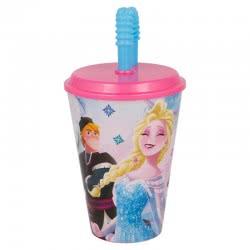 Stor Disney Frozen Glass With Straw 430ML B17930 8412497179305