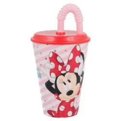 Stor Minnie Mouse Glass With Straw 430ML B18830 8412497188307