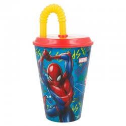 Stor Marvel Spiderman Glass With Straw 430ML B37930 8412497379309