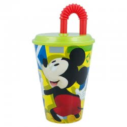 Stor Mickey Mouse Glass With Straw 430ML B44230 8412497442300