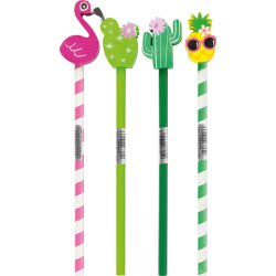 Stylex Pencil With Eraser Topper Tropical - 4 Designs 42105 4044186421057