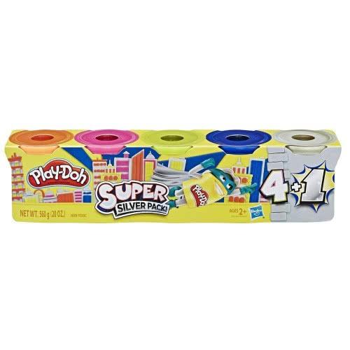 Hasbro Play-Doh Super Silver Pack Με 5 Βαζάκια E8142 / E8143 5010993646784
