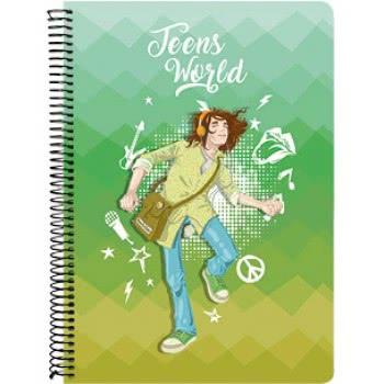A&G PAPER Teens World Spiral Notebook A4 21Χ29.7 Cm 4 Subjects - 10 Designs 032114 5203296321148
