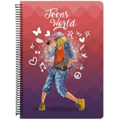 A&G PAPER Teens World Spiral Notebook B5 17Χ24 Cm 3 Subjects - 10 Designs 032110 5203296321100