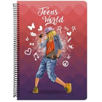 A&G PAPER Teens World Spiral Notebook B5 17Χ24 Cm 3 Subjects - 10 Designs 032110 5203296321100