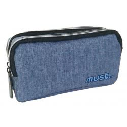 MUST Monochrome Jean Pencil Case With 2 Zippers - Blue 000579582 5205698425547