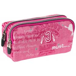 MUST Energy Dance Pencil Case With 2 Zippers - Pink 000579355 5205698244889