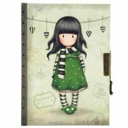 Santoro London Gorjuss Vacation Lockable Notebook - The Scarf ( Green ) 577GJ08 5018997617021