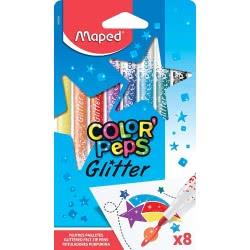 Maped Color Peps Glitter Μαρκαδόροι 8 Τεμάχια Σε Κουτί 845808 3154148458081