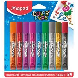 Maped Color Peps Glitter Glue Κόλλα 9 Χρωμάτων 10,5Ml 813010 3154148130109