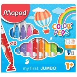 Maped Color Peps My Firts Jumbo Μαρκαδόροι Maxi 12 Τεμάχια Σε Χάρτινη Συσκευασία 846020 3154148460206