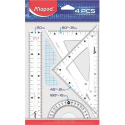 Maped 4 Pieces Geometry Set Clear With 20Cm Ruler 242820 3154142428202