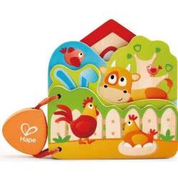 Hape Early Explorer Babys Farm Animal Wooden Book E0046 6943478020306