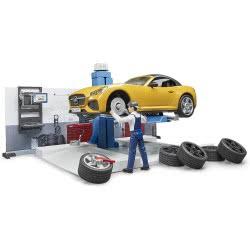 bruder Bworld Car Service Συνεργείο Αυτοκινήτων Με Roadster BR062110 4001702621100