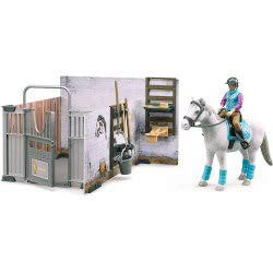 bruder Bworld Horse Barn Στάβλος Με Άλογο Και Αναβάτρια BR062506 4001702625061