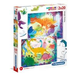 Clementoni Puzzle 2X20 Supercolor Funny Dinos 1200-24755 8005125247554
