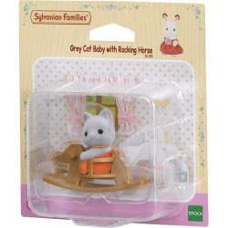 Epoch Sylvanian Families: Grey Cat Baby With Rocking Horse 5135 5054131051351